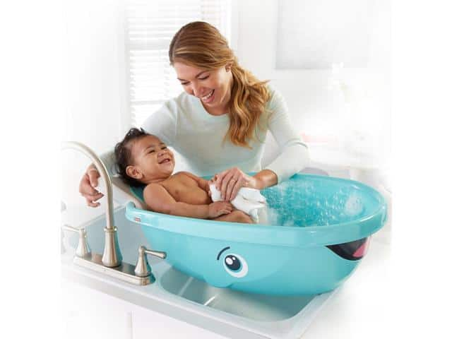 Fisher Price Whale Bathtub in sink