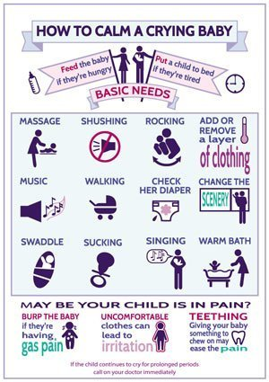 calm a crying baby infographic