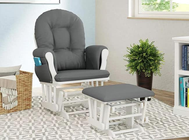 Storkcraft Hoop Glider and Ottoman Grey