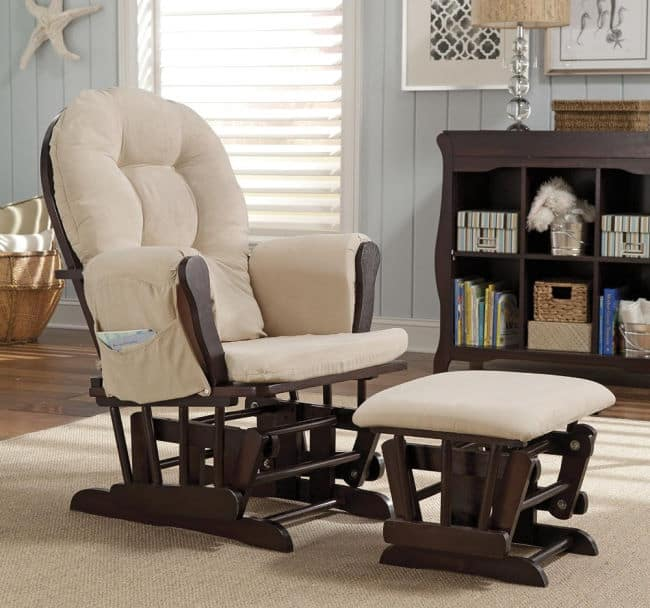 Storkcraft Nursery Baby Glider Expresso and Beige