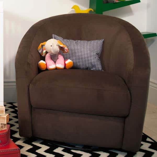 babyletto madison swivel glider in brown